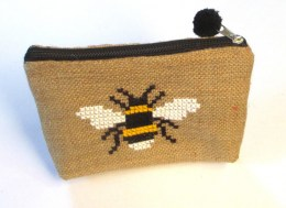Bee burlap pouch